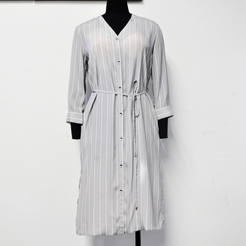APHACATOP Dropshipping 73%Viscose 27%Silk Elegant Striped Women's Casual Dress