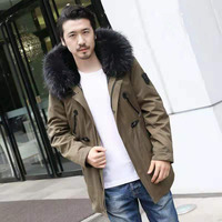 Hot selling men fur parka mens parka coats with fur hood rabbit fur line parka