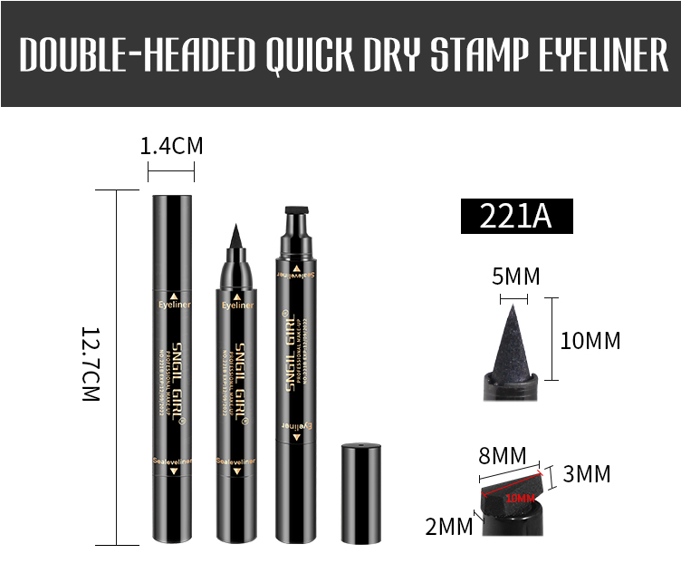 Double Head Two in One Waterproof Eyeliner With Eyeliner Stamp Private Label Eyeliner Pencil