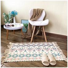 2020 Ретро богемный ручной тканый хлопковый льняной ковер, прикроватный ковер, геометрический Коврик, ковры для гостиной, дома, спальни, Декор(Китай)