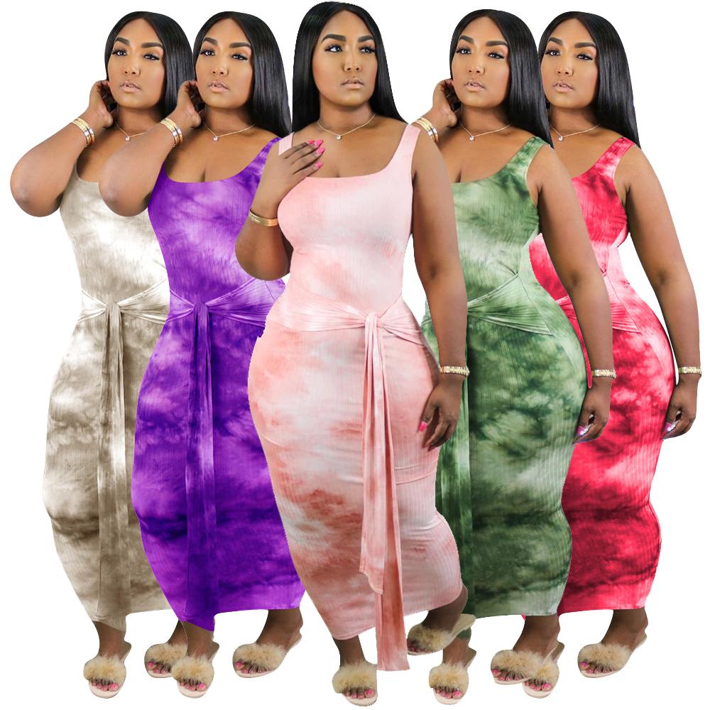 Bộ Váy Ôm Sát Nách Quyến Rũ Cho Nữ, Quần Áo Ngoại Cỡ Mặc Hàng Ngày Mùa Hè 2020, Có Túi Nhuộm Màu