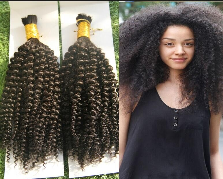 100% human afro kinky human braiding hair unwefted bulk virgin hair