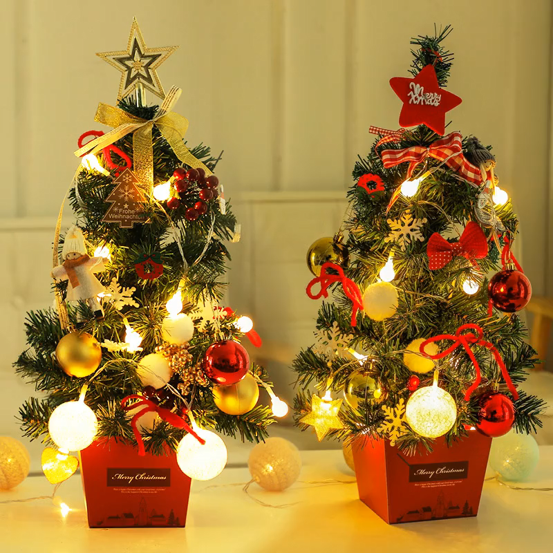 50CM Mini Christmas Tree Table Decoration With Lamp Golden And Red Christmas Ornaments Tree Set