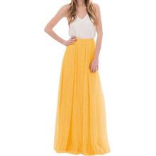 Для женщин 3-уровневые кружевные Длинная юбка макси с эластичной резинкой на талии, Тюлевая юбка подружки невесты, вечернее платье, платье н...(Китай)