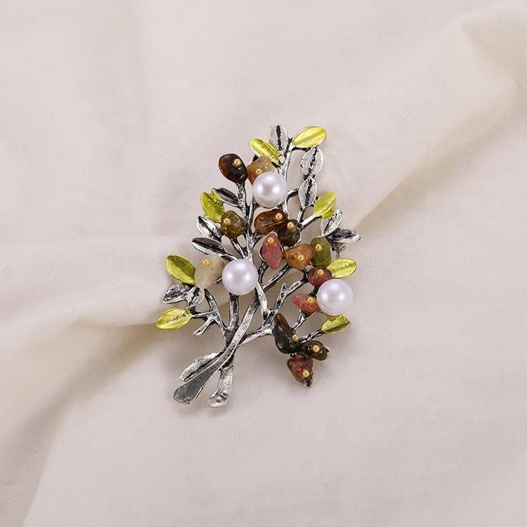 Nouveau Style Rétro Noël Broches Vêtements Corsage Perle Arbre Broche Pour Les Femmes