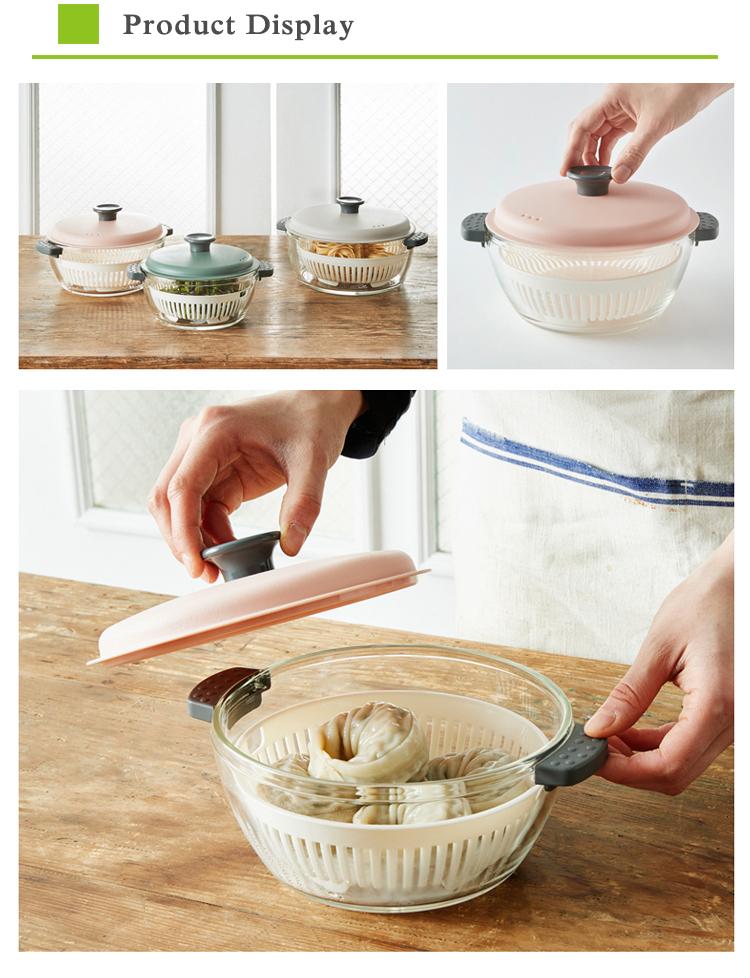 heat resistant glass pot casseroles with PP steamer