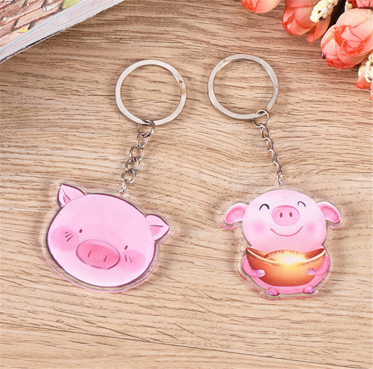 Custom Eco-friendly Pink Pig Shape Plastic Clear Acrylic Keychain