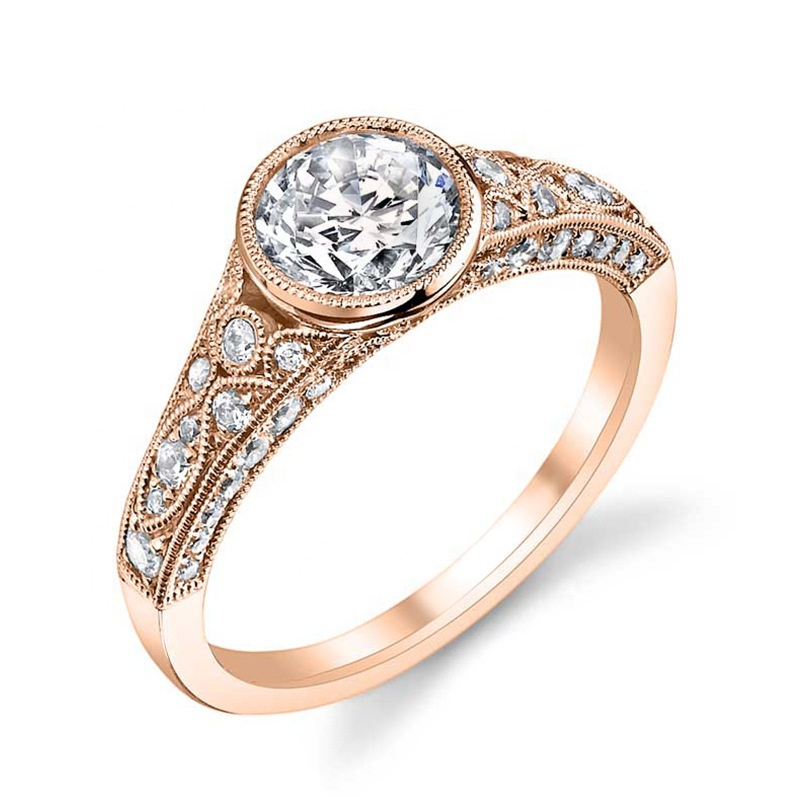 Rose Gold Color Shiny <strong>Clear</strong> Cubic Zirconia <strong>Crystal</strong> <strong>Micro</strong> Inlay Craft Women Engagement Ring Wholesale Fashion Gift