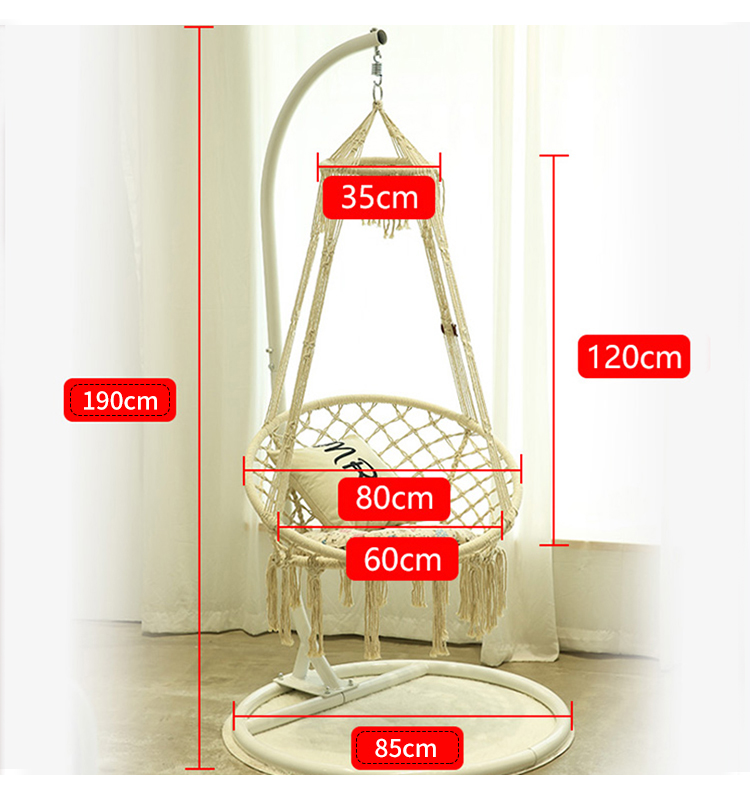 factory supply  indoor bedroom imperial crown cotton ropes hanging chairs only