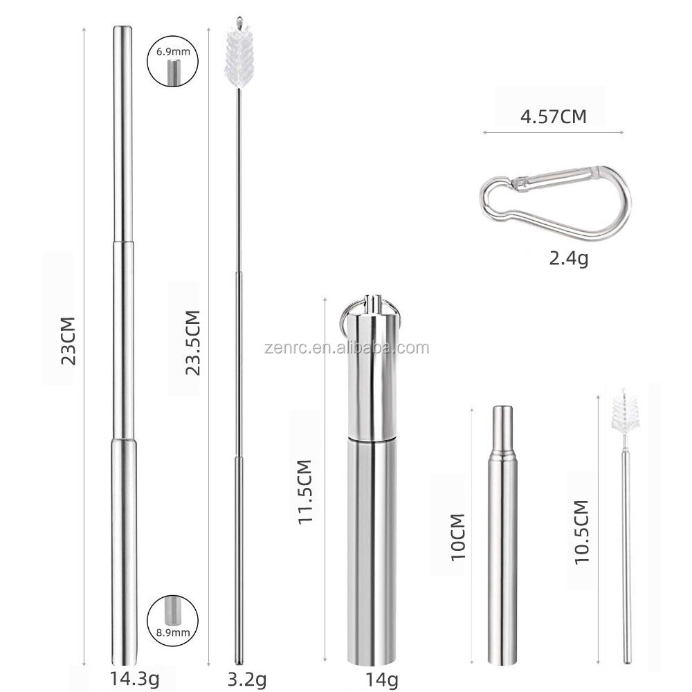 Collapsible Stainless Steel Straw Reusable Metal Foldable Metalstraw With Case Keychain EcoStraw
