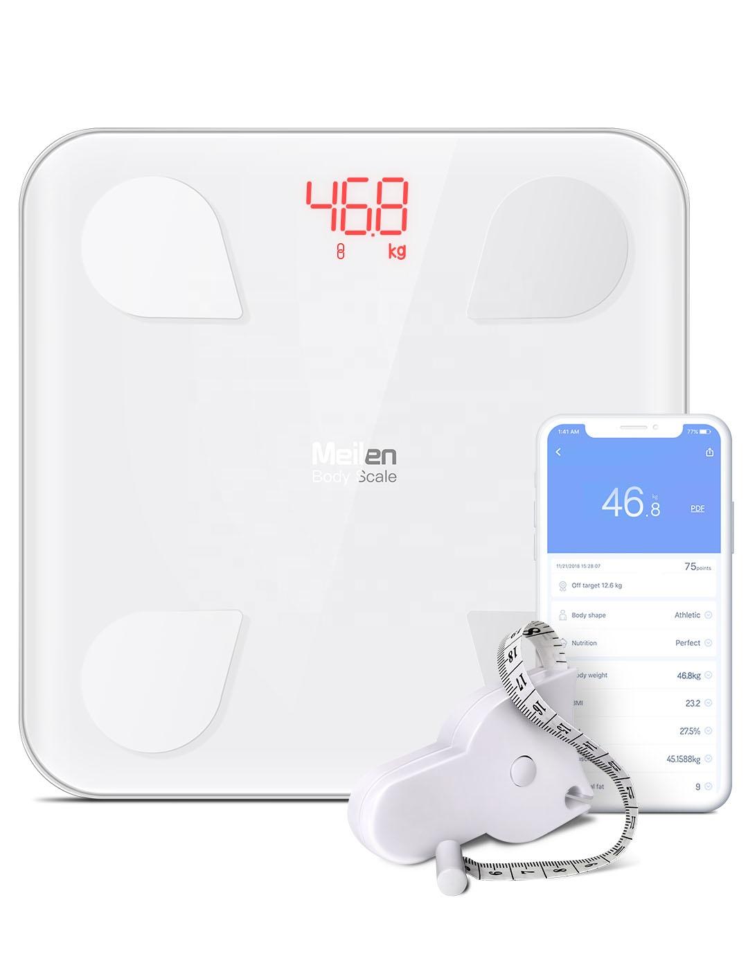180Kg Timbangan Elektronik Meilen Konektivitas Bluetooth Komposisi Lemak Tubuh Analyzer BMI Smart Timbangan dengan Aplikasi