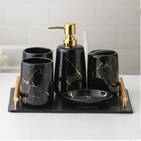 Best selling custom logo hotel home used royal luxury 5pcs marble black bathroom set with tray