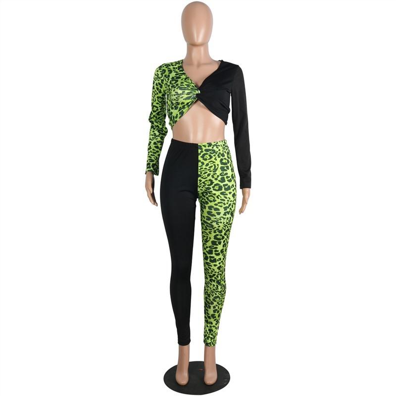 Новинка 2020, женский осенне-зимний леопардовый комплект из двух предметов, спортивный костюм с v-образным вырезом, вечерние сексуальные боди(Китай)