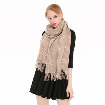 Women European Style Winter Tassel Scarf Cozy Plaid Checked Tartan Thermal Thick Warm Cashmere Wrap Shawl Blanket Scarf