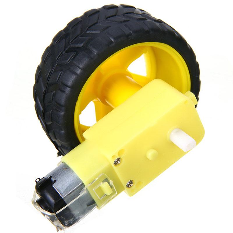 Moteur électrique à courant continu avec roue de pneu de voiture jouet en plastique 3-6V double arbre engrenage TT moteur de boîte de vitesses magnétique