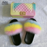 Jellyooy BEACHKINS PVC Jelly Bag Matte With Fox Fur Slides Sets Purse Bag Match Multicolor Fur Sandals Slippers
