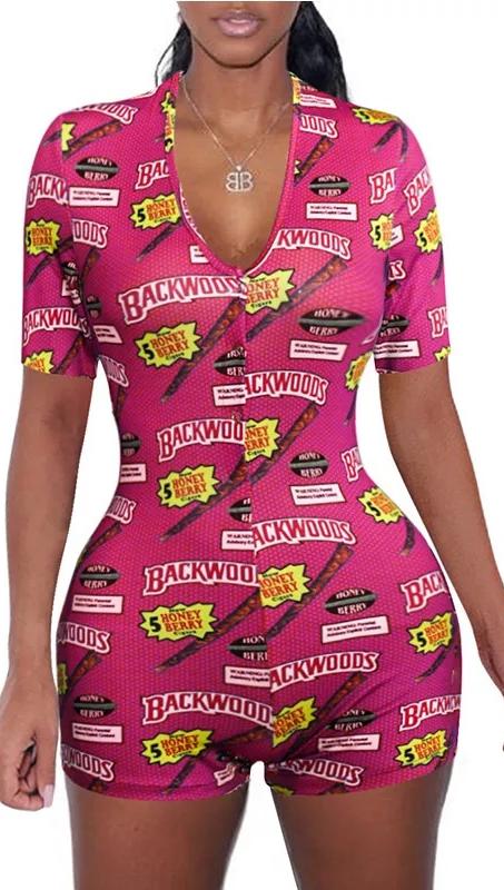 JY1936 Amerika Serikat Hot Menjual Dewasa Jumpsuit Lengan Pendek Gadis Mulus Baju Tidur Baju Monyet Bodysuit Jumpsuit Nyaman Piyama