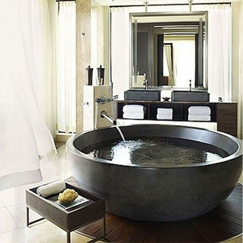 Wholesale factory low price high quality round natural stone bathtub for sale