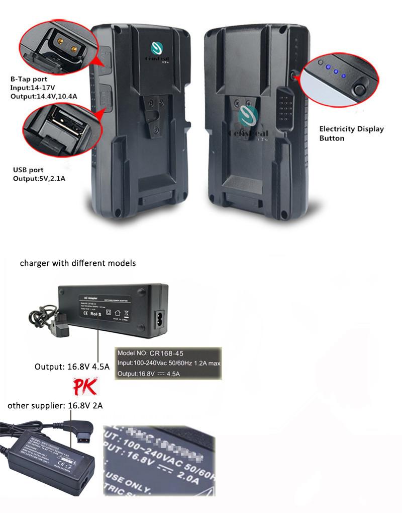 LED V-Lock Batería Cargador Studio Kit equipo entrevista baterías de carga