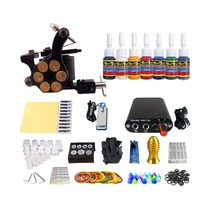 Compleet Tattoo Kit 1 Machines 7 Inks Voeding Grips Tips Naalden Goedkope <span class=keywords><strong>Tatoo</strong></span> Kits TK105-35