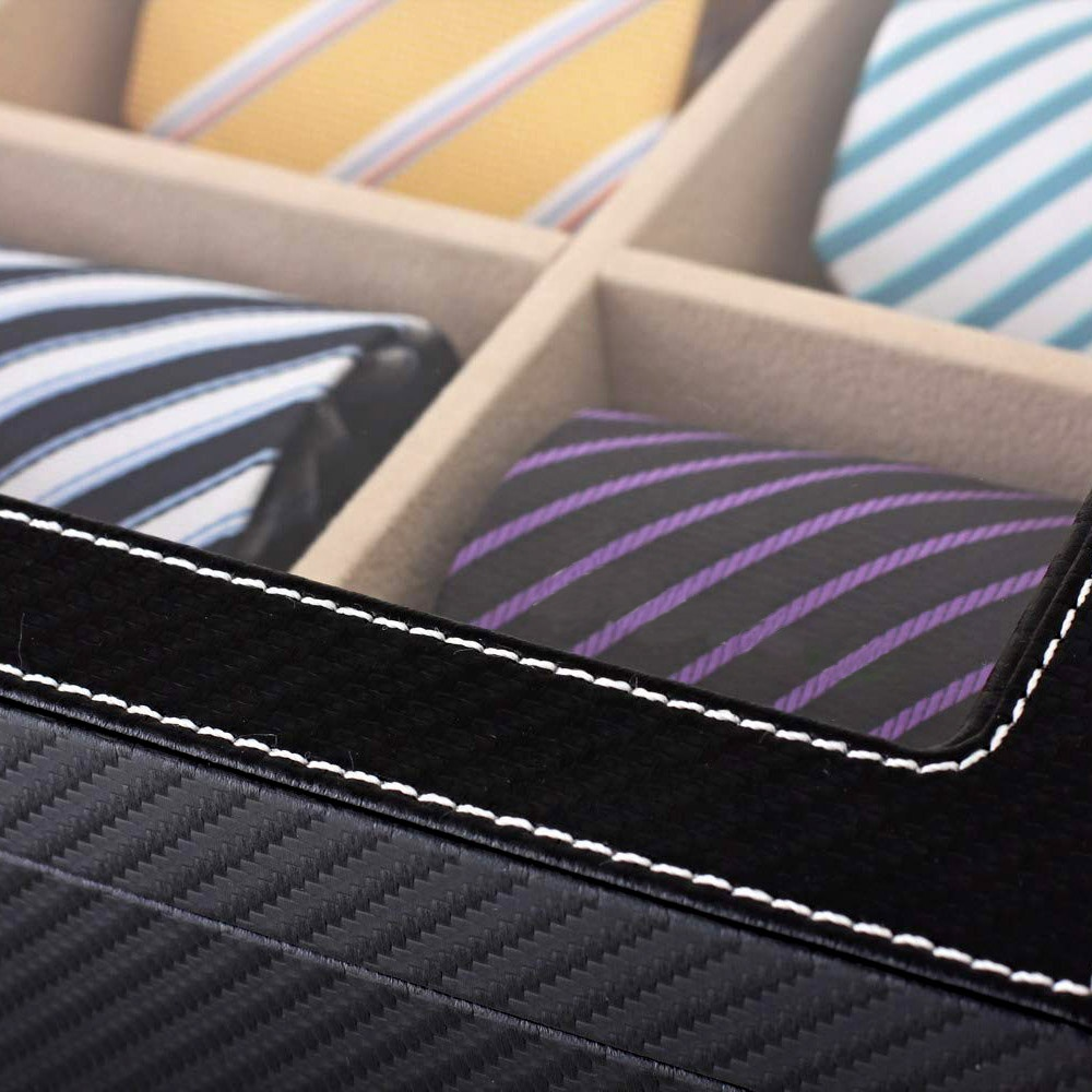 Luxury custom leather men gift cardboard tie box leather tie packaging box