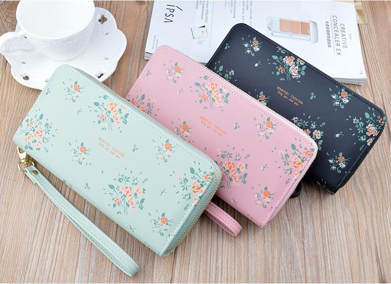Wholesale New lady wallet Long Wallets large capacity Double zip purse multi-functional mobile phone bag