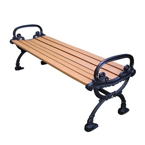 Backless outdoor recycled wood plastic composite slats and cast iron park garden bench