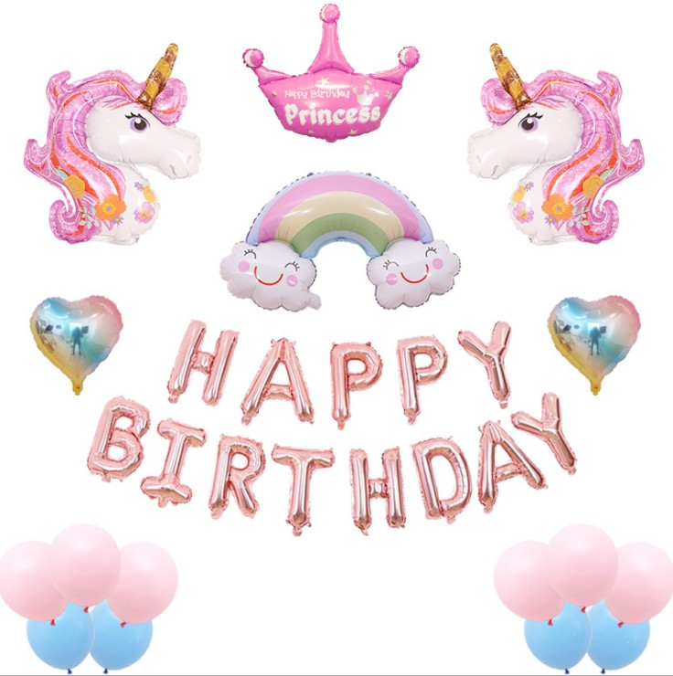 Unicorn Balloon HAPPY BIRTHDAY Foil Balloon Happy Birthday Party Decoration Kids Balloons Baby Shower Supplies