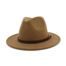 Wholesale Vintage Wide Brim Faux Wool Felt Fedora Hat for Women Men
