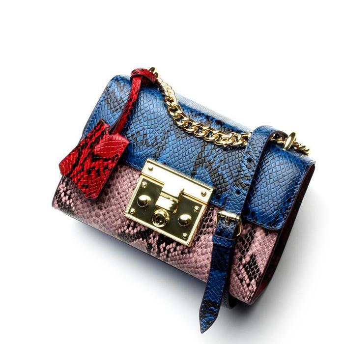 New arrival embossed python pattern fashion leather designer crossbody bags lady handbag shoulder bag, Yellow &blue,blue &pink,green & pink,red &pink,blue & grey