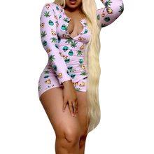Сексуальная пижама с принтом для взрослых, пижама с длинными рукавами, женская одежда для сна, Короткий комбинезон, женское нижнее белье(Китай)