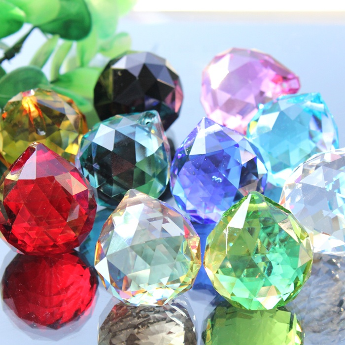 crystal colorful faceted ball crystal chandelier parts MH-12757