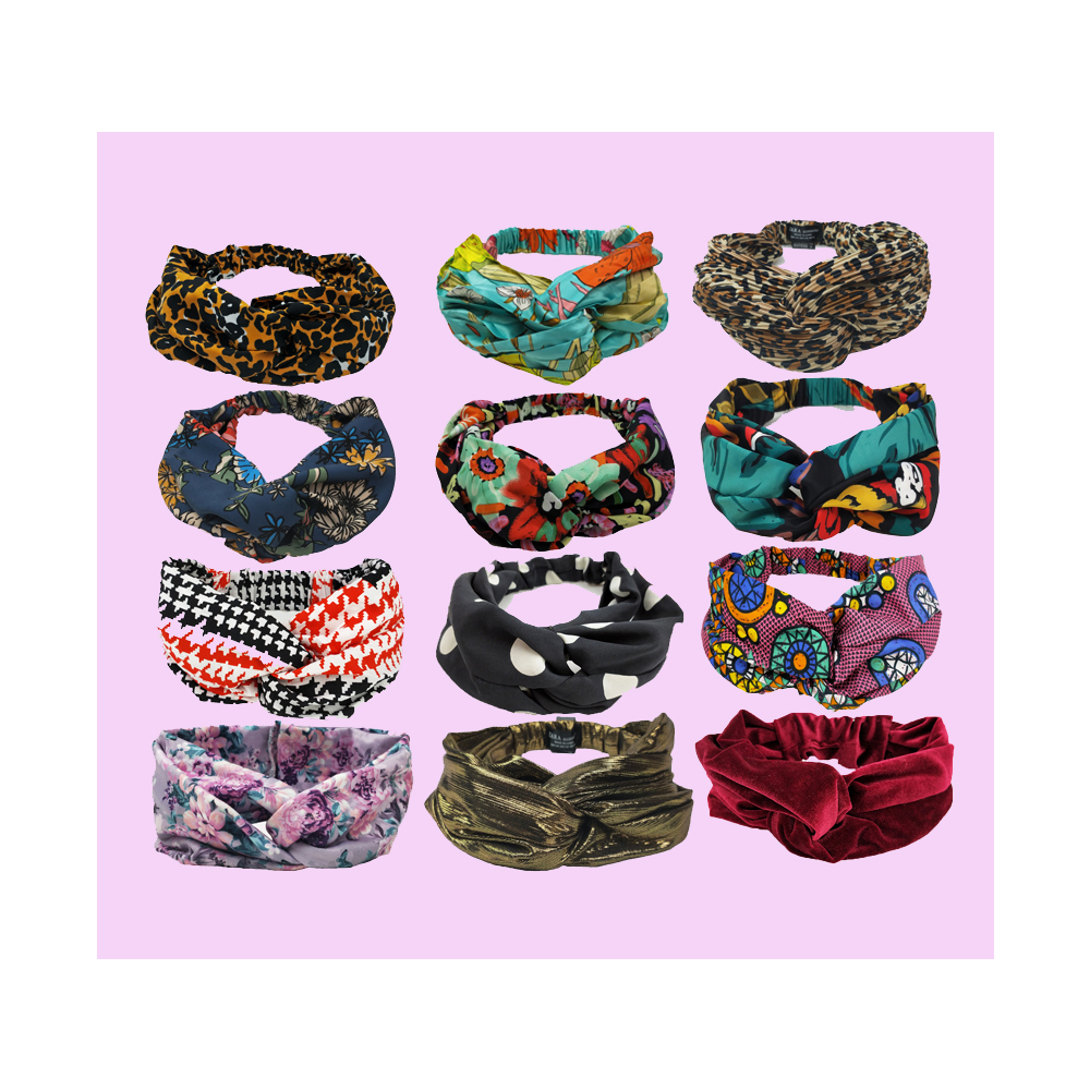 2019 latest custom design fashion decorate twisted knot wrap turban <strong>headband</strong> for women