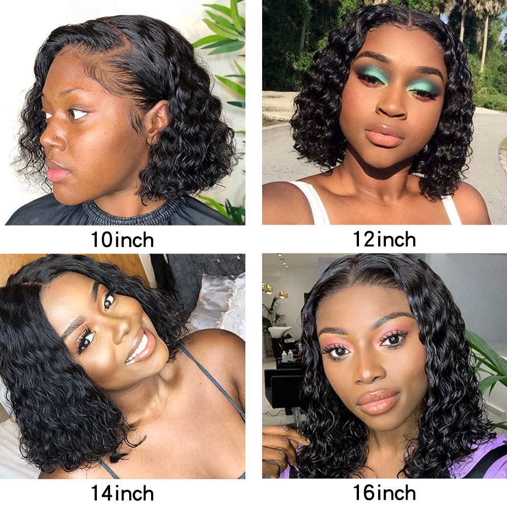 Short Brazilian Deep Curly 13x6 Lace Front Wigs Human Hair Bob 150 Density Glueless Lace Front Wigs Pre Plucked With Baby Hair Buy Lace Front Wig Short Curly Human Hair Wig Brazilian Curly