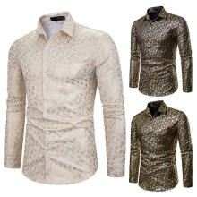 Nieuwste hot selling party shirt mannen polyester katoen goud glanzend gedrukt smoking slim fit dress shirt