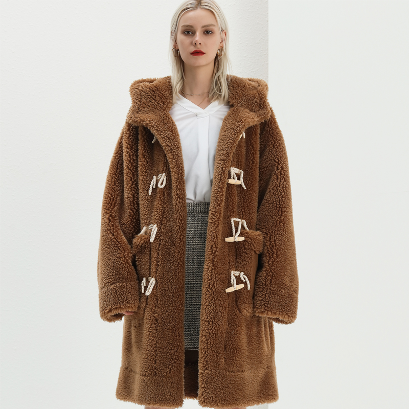 Hot sale new European style long fur coat winter warm women coat
