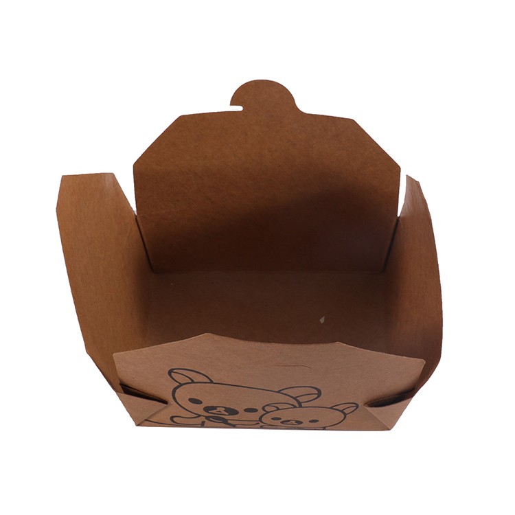 Custom Design Recycled Take Away Folding Disposable Kraft Paper Meal Food Box