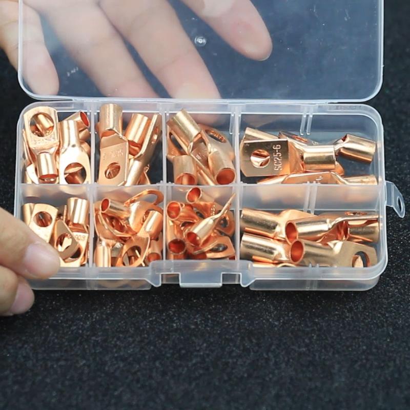 100PCS 볼트 구멍 주석 도금 구리 케이블 러그 배터리 터미널 세트 전기 와이어 케이블 베어 링 유형 케이블 러그