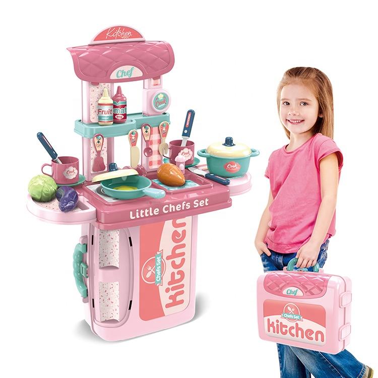 البلاستيك نتظاهر اللعب الطبخ الطفل الاطفال سعيد المطبخ أطقم الكابينة لعب للبنات