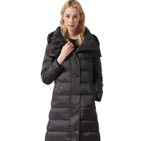 Wholesale Light Duck Down Jacket Women's Long Sleeve Black Hooded Coat