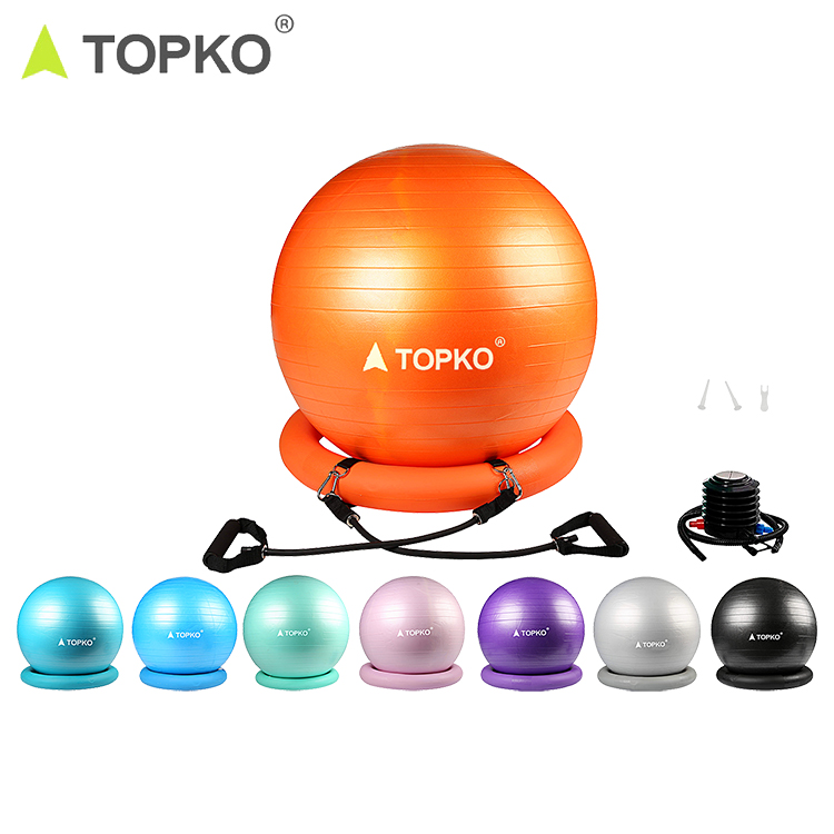 TOPKO patent anti-burst pilates exercise gym <strong>ball</strong> <strong>yoga</strong> <strong>ball</strong> with base