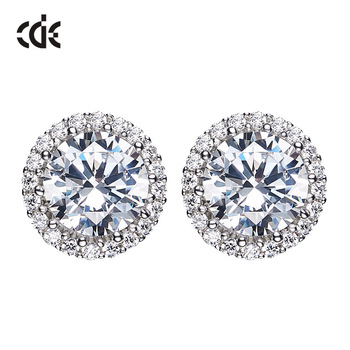 CDE Cubic Zirconia Jewelry Factory Welcome Custom Logo 925 Sterling Silver Fashion Stud Earrings