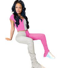 Женский комплект из 2 предметов, летний спортивный костюм в стиле пэчворк, укороченный топ + штаны, комплект из 2 предметов, спортивный костюм...(Китай)