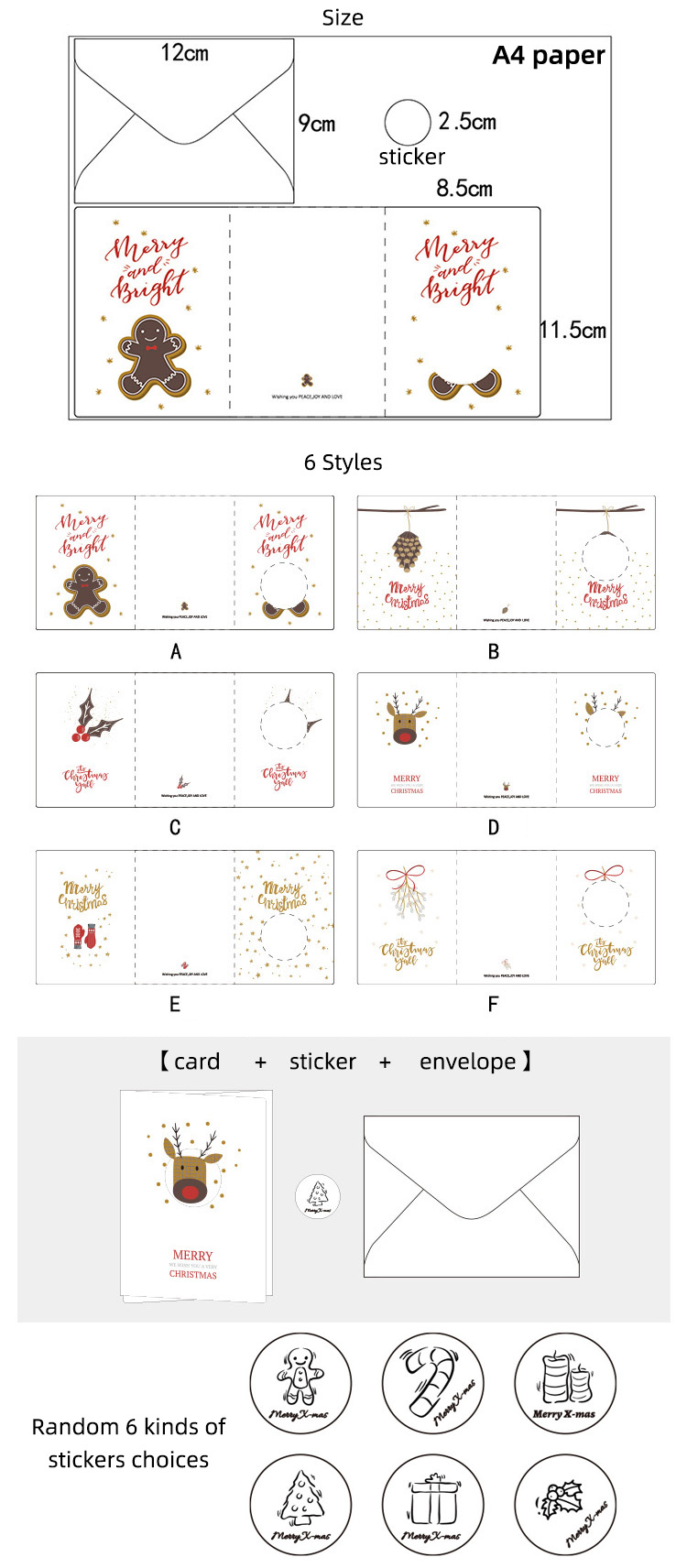 oem traditional customized printed small mini blank 3 pcs set custom beautiful view merry christmas cards