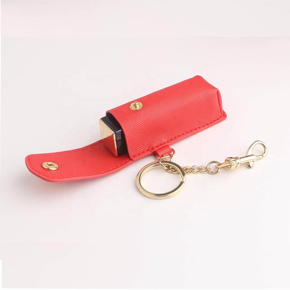 keychain holder leather lipstick case