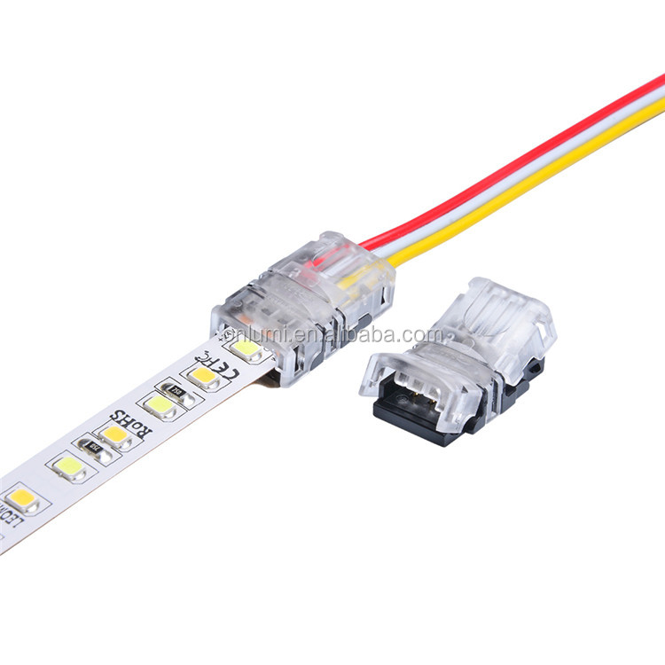 10mm  3 pin led strip lighting solderless  adressable quick connectors for dual color 5050 ,3520 nonwaterproof led strip