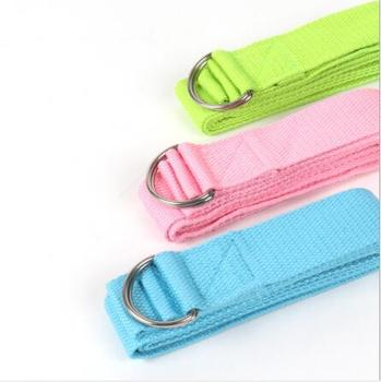 Wholesale Factory Price Custom Label Logo 100% Fitness Cotton Exercise Yoga Strap With D Ring Metal Loop