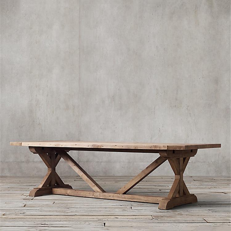 DT-1505 Elm Wood Furniture K Shape Leg Old Elm Dining