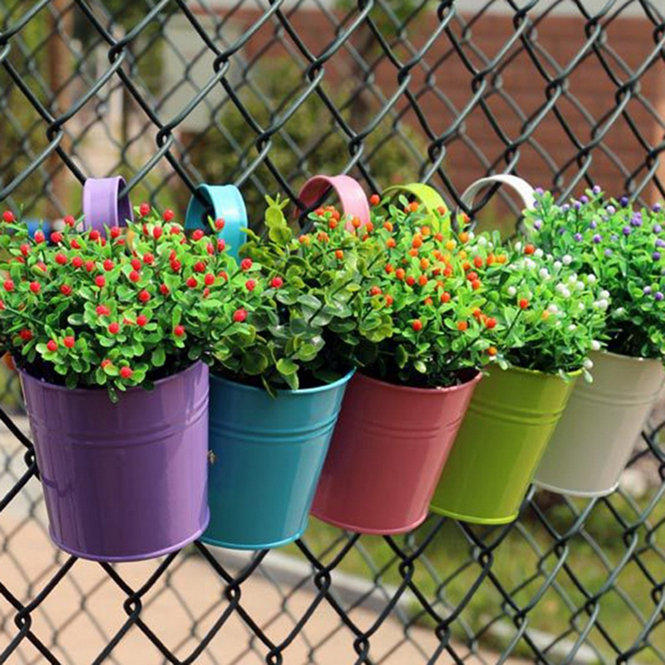 Home Garden Wall Decorative Hanging Flower Pot Bucket Metal Balcony Planter Plant Pots With Hook Holder