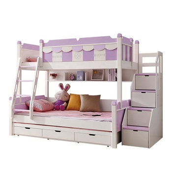 Hot Selling Wooden Children Double Bunk Bed for Kids Bedroom Furniture